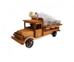 Suport lemn camion cu sticla si 6 pahare suvenir Romania